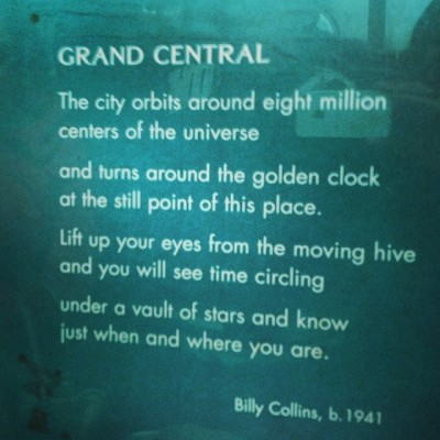Poem in the subway by the wonderful Billy Collins #grandcentral #nyc
