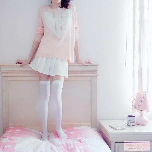 gasaii pink oversized sweater kawaii jfashion high waisted skirt sheinside kfashion pretty in pink gphotography review poisonmarie
