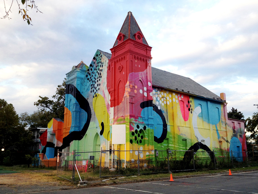 landseaandair:  Hense - 700 Delaware (2012) - Mural on abandoned church