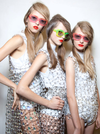 stopdropandvogue:  Alisa Matviychuk, Rasa Zukauskaite and Amanda Norgaard backstage at Prada Spring/Summer 2010
