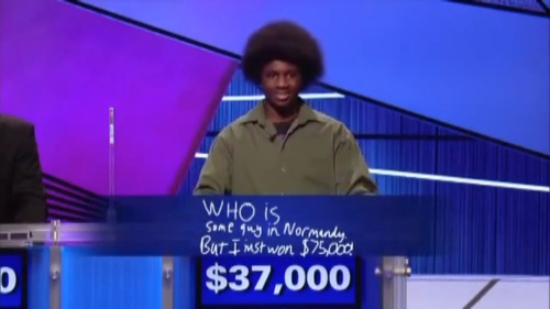 inothernews:  The day contestant Leonard Cooper awesomely won the Jeopardy! Teen Tournament.  I laughed so hard.