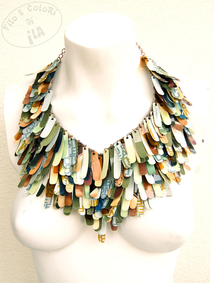 ilariaanselmi:  Rapace - Recycled plastic and paper necklace http://etsy.me/UyFlnw