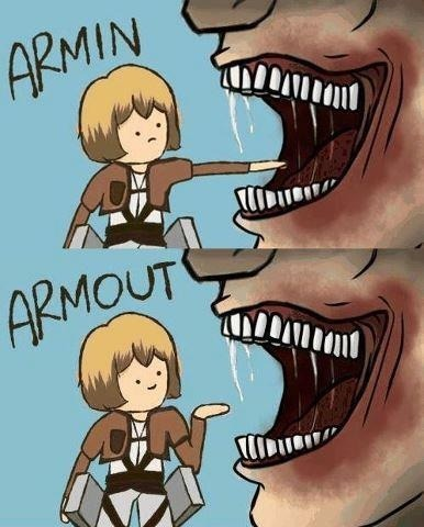 majornosebleed:  Saw this after watching the latest episode for Attack on Titan…. GAH I WANT TO LAUGH BUT IT'S SO CRUEL.