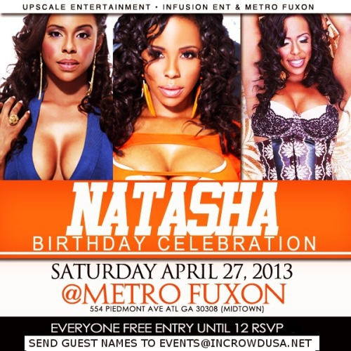 Saturday At Metro Fuxon: Natasha Mays Birthday Bash! Free Entry With RSVPUPSCALE ENTERTAINMENT, INFUSION ENT, & METRO FUXON PRESENT: Sovereign Saturdays At Metro Fuxon Host…View Post
