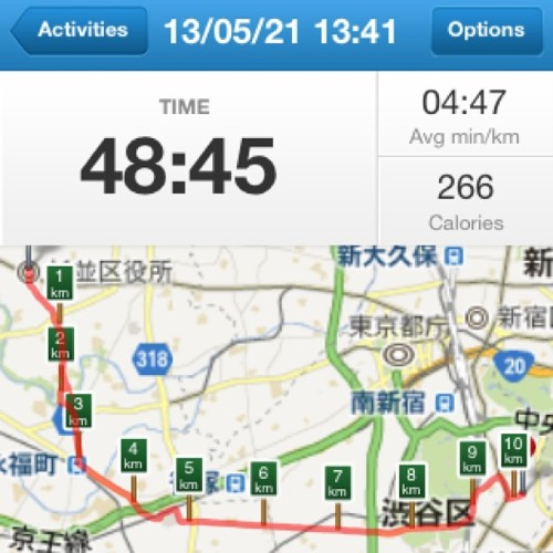 5/21 13:42-14:30 49min. 10.2km #bicycle #asagaya #harajuku #runkeeper (フレッシュネスバーガー 神宮前店)