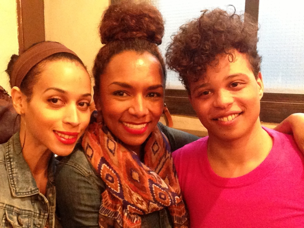 Isis King snapped this photo of the Isis, Janet & me having a power kiki -the first step to girlslikeus taking over the world!