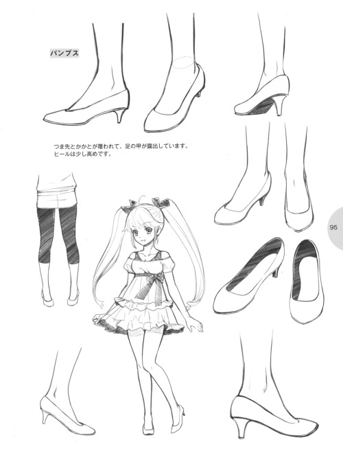 knickerweasels:  Drawing Feet and Shoes from 萌えキャラクターの描き方 (How to draw moe characters)