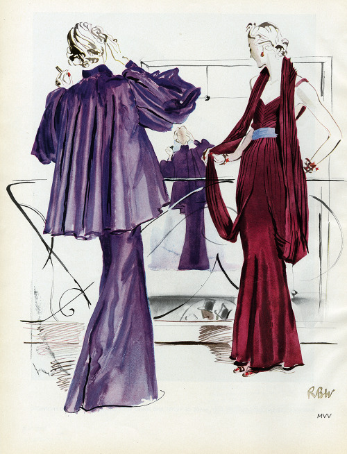 Vogue September 1935 Illustration of gowns by Marcel Rochas Conde Nast
