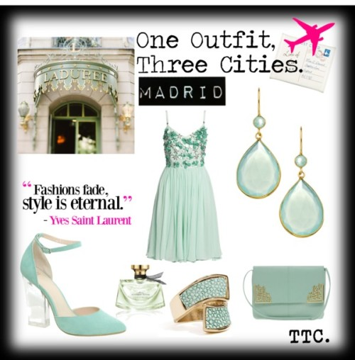 One Outfit.Three Cities: MADRID. Mint por threetrendycorners con pointed-toe pumpsSequin dress, $295 / ASOS pointed-toe pumps, $62 / ASOS  / GUESS  ring / Chalcedony jewelry / Bulgari  perfume / 25% OFF Paris Photograph, Laduree Shop Sign, Macarons, Mint,… / Cream postcard jewellery roll, $19