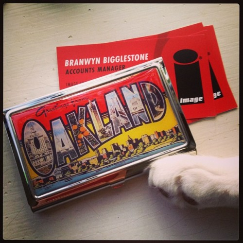 Got myself a new business card case from @oaklandmuseumca. Look familiar? #oakland #catphotobomb