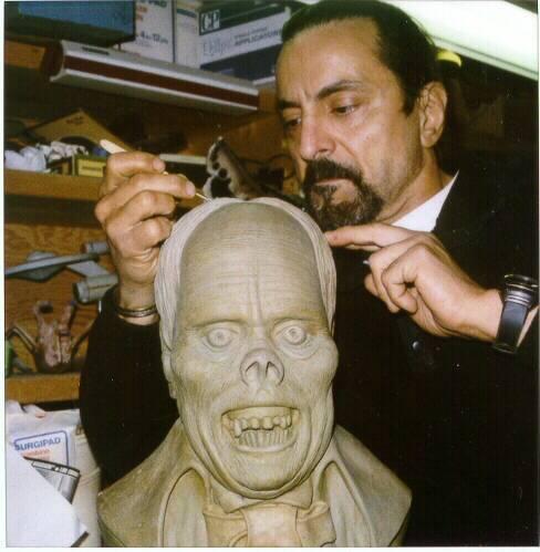 beautyandterrordance:  Tom Savini sculpting Erik, the Phantom.