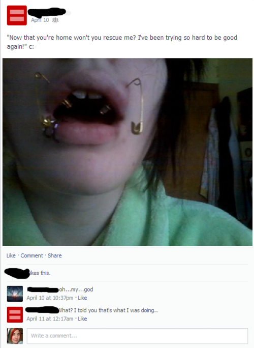 "SUBMITTER'S COMMENT: I despise self piercing. She also made a status the day before she did this saying she was ""going to get angel bites and they would probably get infected"". WHAT'S AWFUL: Self piercing with safety pins. HOW IT CAN BE FIXED: Take them out, don't put any jewelry in, and sea salt soak those until they heal up."
