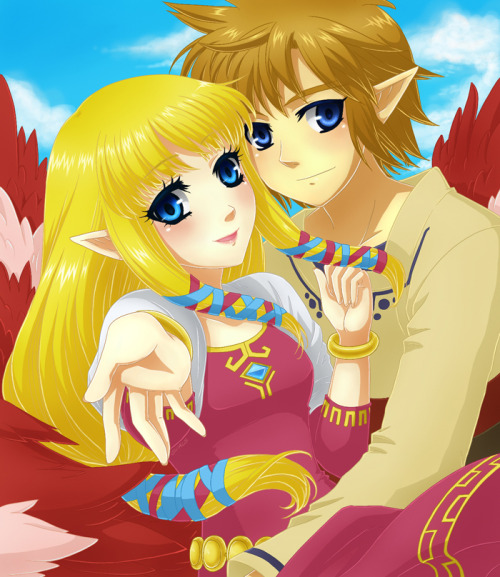 triforceoftrust:  Link and Zelda by ~Selene-Galadriel