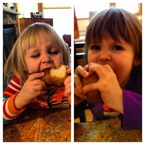 E & F fueling up on pears before hitting the slopes this morning