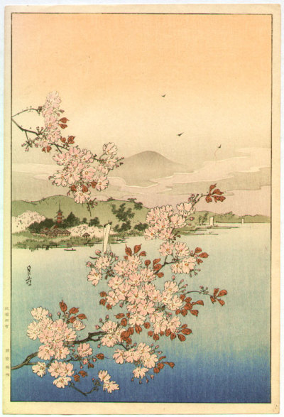 iamjapanese:  YOSHIMOTO Gesso(Japanese, 1881-1936) Cherry Trees above the Water   1930's Woodblock print