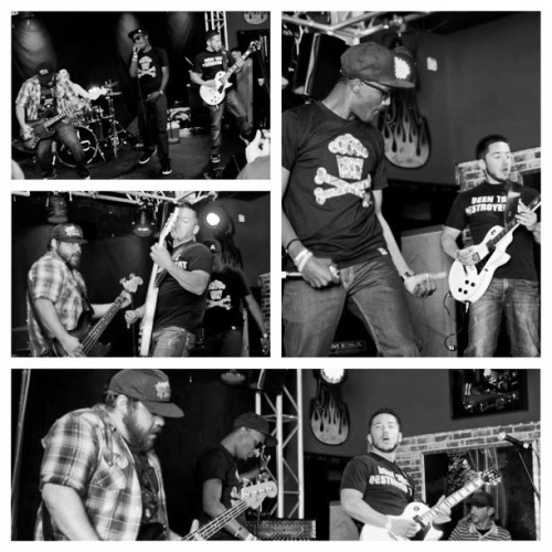 Our band getting down on stage #arochardplace #ahp #music #hiphop #rock #band #picstitch
