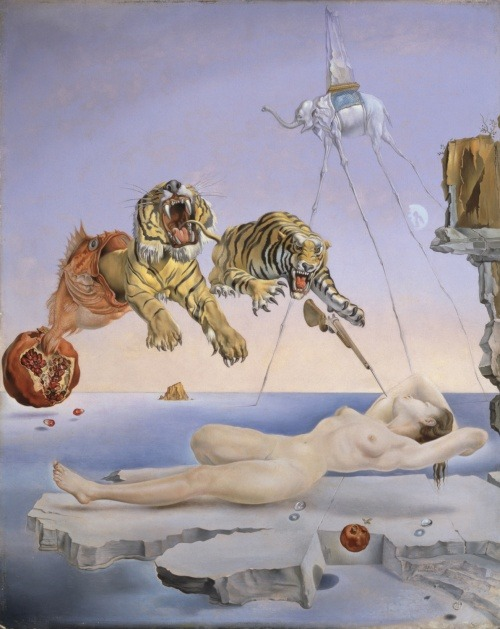"pedanticpersiflage:   She has a print of Salvador Dali's ""Sting Caused by the Flight of a Bee Around a Pomegranate a Second Before Awakening.""  There is a naked woman suspended just above a block of ice, which is itself floating on an ocean.  There are two tigers lunging at her, and they are captured at the apex of their parabolic jump frozen solid like the ice block she rests on impervious.  One of the tigers is being swallowed by a fish, which appears at first to be a flame coming off what appears at first to be the sun setting on the ocean, but upon further investigation, it is a rotting pomegranate.  I am not sure whether the Jonas tiger will get her, but the other one damn sure looks like he'd sink his claws in if the rifle pointing at her arm doesn't fire first.  Still, she sleeps forever, beautiful, somehow even more vibrant in her coma, framed like a Greek goddess, in that moment that approaches doom.   In that moment where the rot is setting in the background, the moon is rising out behind the stilted legs of a rather tall elephant who is carrying upon his back some sort of ice sculpture or trophy, and ironically, the elephant is deep in the background of the painting conversely displayed to the metaphorical shall we say elephant in the room (or in this case painting).  She tells me, ""We can't hang that on the wall in here.  We have to put that one in the bedroom."" ""Why?  Do you just think it will go better in there?"" ""No.  It's the naked lady.  I made the mistake of hanging it in the living room at my old apartment, and some boy's mother got all pissed off about it."" I have to smile and remember that we are in the suburbs, and she has kids, and I am new to this.  I have spent most of my life hanging out with punk rockers, graffiti artists, anarchists, socialists, bartenders, alcoholics, drug dealers, drug addicts, and more lately, academics.  I was raised by a father who is a painter himself in his spare time and worships at the altar of Dali.  I have never really known what to say around the sort of people who think art is the little cursive scripted prints of the word Faith or the word Hope, cheaply inked and framed in black in a factory in China somewhere and sold en masse at Target and Wal-Mart stores across the fruited plains.  I cannot fathom what is so offensive about the naked female form, especially in paint, and especially in the dream world of Dali. In fact, I would like to live in that world.  Perhaps, that is why I have experimented so heavily with hallucinogenic drugs.  I could understand on those drugs what Dali must have meant by his famous melting clocks, the illusion of time he is pointing to.  I look back to the print on the wall at the paradox of both sun and moon out together.  The tiger being destroyed by the generally harmless goldfish.  This is a world where nothing makes sense, but it is maybe closer to our own world than we realize.  Just a hit of acid away, or a gram of mushrooms to be there, and yet without the tour guides, I still need only to look at the paradoxes so prominently displayed in art to know at some point we failed in assembling our forms of logic.  Or maybe there is no logic. Certainly, there isn't any in the people who most need to see Dali but recoil from him as they call his work offensive and promise never to let their son come over again."