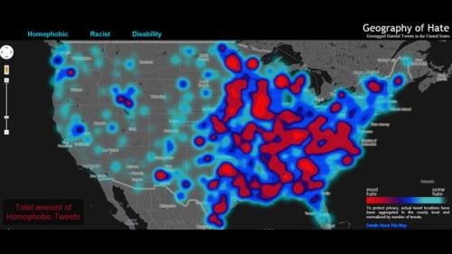 "A group of researchers have created a ""Geography of Hate"" map revealing racist and homophobic tweet concentrations across the U.S. Ever wondered where those hateful, discriminatory tweets on Twitter were coming from? A group of researchers from the Floating Sheep project – who also mapped racist tweets surrounding President Barack Obama's re-election – have geotagged racist, homophobic and ableist (directed at disabled people) tweets in the United States and plotted them on an interactive map. Students at Humboldt State University in Arcata, Calif., looked up all the geotagged tweets in North America between June 2012 and April 2013, manually reading and coding the sentiment of each tweet to determine if the given word was used in a positive, negative or neutral way in a project called the ""Geography of Hate."" read more"