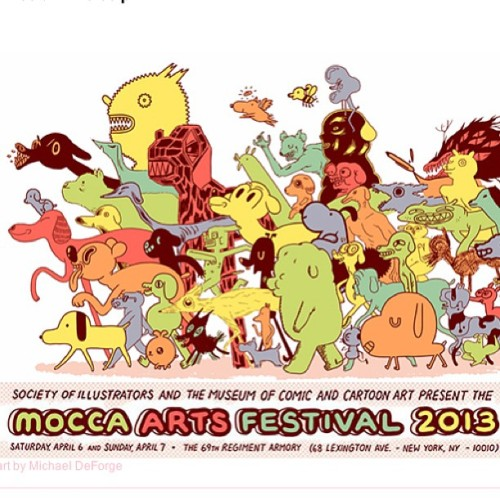 MoCCA Arts Festival is this weekend Apr. 6 & 7 from 11am to 6pm. I'll have a table selling some goodies (tee's, prints, & stickers). If you're in the NYC area swing by and say hi! I'll be in table F195. That's all folks! (Flyer art by Michael DeForge)