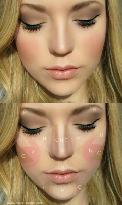 occasionallyjane:  meggygrace:  Contouring & Highlighting 101 - Where To Highlight: - Under the brow - On the cheekbones - Center of the forehead - Space between nose and eyes - Middle of the chin - Down the center of the nose - Cupid's bow (upper lip) Contour: - Sides of the nose - Sides of the chin - Hollows of the cheeks - Under the chin Blush: - Apples of the cheeks  Thought I would reblog this one again because it's so great.