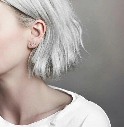 pale indie platinum platinum hair gray white hd tumblr girl short hair gray hair grunge piercings earrings cute fashion