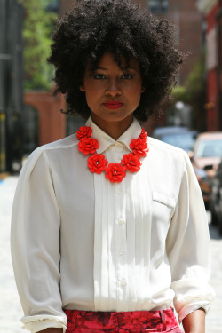 blackfashion:  Model/Stylist: Kivvi Rachelle Manhattan Photo: Kate Eldridge MUA: Victoria Taylor J.Crew necklace and pants, Goodwill blouse.