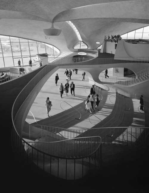 bygoneamericana:  TWA Terminal at Idlewild (now JFK) Airport. New York, 1962. By Ezra Stoller