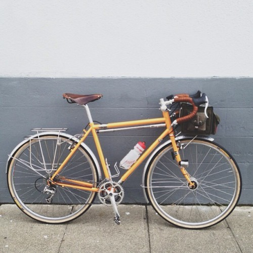 bradw:  Got my Soma touring bike back! S&S retrofitting by Steve Rex Cycles in Sacramento, and powdercoating by Maas Brothers in Livermore.  Leaving Sunday to ride from Venice to Athens, follow on Instagram