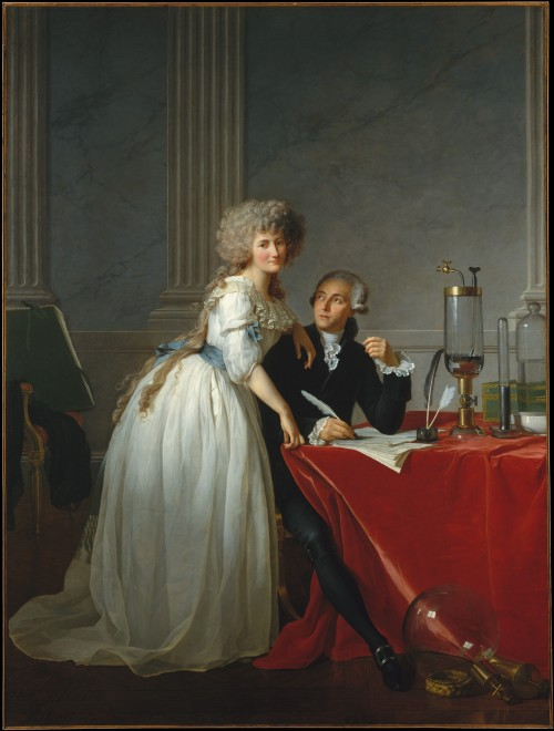 historicalfashion:  Antoine-Laurent Lavoisier and His Wife (Marie-Anne-Pierrette Paulze) by Jacques-Louis David, 1788 This is a flawless chemise dress - even if it was painted by David…