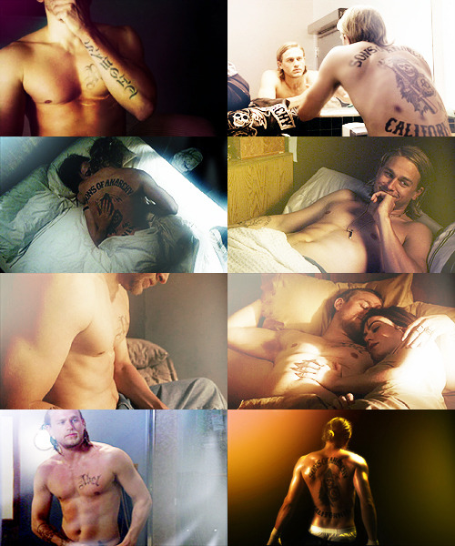 screencap meme: Jax Teller + Tickles My Pickle shirtless edition (asked by smoldergasmic)