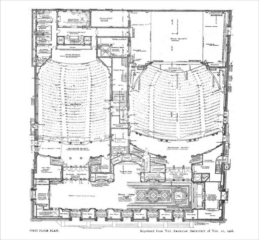 Floor plan of the Brooklyn Academy of Music, New York