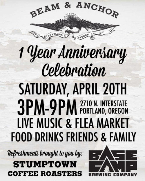 This Saturday marks Beam & Anchor's 1 year anniversary. Come celebrate with all of us in the building with studio tours, drinks, and live music. Be sure to pop upstairs to check out the studios of Maak, Wood & Faulk, Revive Upholstery, Phloem Studio, & Earthbound Industries.