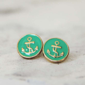Anchors Away Stud Earrings in Mint