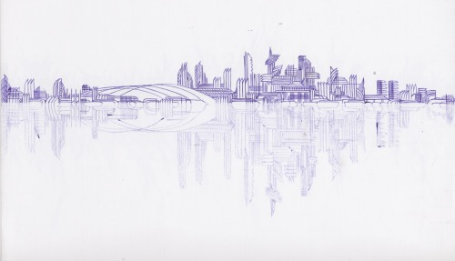 Vancouver Cityscape, ball point pen on paper, a submission by Diana Lupieri. Thanks, Diana!