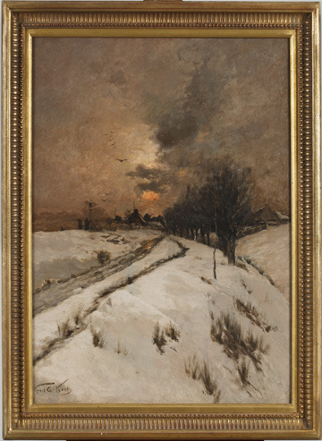centuriespast:  Artist: Frederick William Kost (1861 - 1923) Title: Winter Scene near South Beach Medium: Oil on canvas Dates: c. 1890 Staten Island Museum