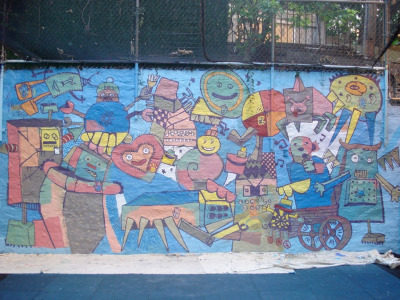 Robots mural. designed by some kids in a shelter in Queens NY