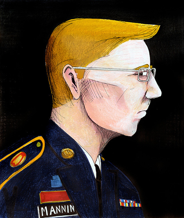 "The Torture of Bradley Manning Drawing by Clark Stoekley via Flickr.After more than 900 days of detainment in United States military jails for allegedly disclosing state secrets, the haunting imprisonment of accused WikiLeaks source Pfc. Bradley Manning was discussed in court for the first time at the latest round of pretrial motion hearings that began on Nov. 27 in Fort Meade, MD. Below is an account of those court proceedings. The case will continue intermittently into 2013.  — If there's a bad time to discuss holiday shopping, it's while waiting for someone to describe being tortured. I was soaking wet and still half asleep when our driver turned to the back seat of the press shuttle and said something so totally irrelevant and ill-timed that I knew right then and there that she was either innocently naïve or politely retarded. ""Can you believe it,"" she said, ""Christmas is already less than a month away."" Festive fucking cheer is not particularly on the mind, at least not on this Tuesday morning at Fort Meade, Maryland. The sprawling 6.6-square mile United States Army base just outside of Washington, DC is the venue for the pretrial motion hearings in the case against Private First Class Bradley Manning. By the time the trial is over, a soldier considered a hero by some could be sentenced to life in prison. I was likely not the only one uninterested in having a holly jolly ol' time, but that didn't do anything to change the fact that our driver had just adjusted the FM dial to pick up ""Santa Baby.""  — When only 22 years old, Pfc. Manning was arrested at his barrack in Baghdad and dragged off to Kuwait, then to perhaps the worst locale yet— Quantico, Virginia—for the longest stretch of the two-and-a-half years of imprisonment that's been condemned by the United Nations and Nobel laureates as tantamount to torture. Pfc. Manning won't be court-martialed by a military judge until next March, and at that point he'll likely have spent over 1,000 days—ten percent of his life—in solitary confinement. This, of course, is because the US says Manning took 250,000 diplomatic embassy cables and a trove of sensitive military documents and sent them to the website WikiLeaks. Among the documents Pfc. Manning allegedly leaked are the Afghan War Diaries, the Iraq War Logs, secret diplomatic communications, and a video of US soldiers firing at Iraqi civilians and journalists from the air in a clip that was dubbed ""Collateral Murder."" ""This is possibly one of the more significant documents of our time, removing the fog of war and revealing the true nature of 21st century asymmetric warfare,"" Pfc. Manning is alleged to have written of the footage. Julian Assange, the Wikileaks founder currently sought for extradition from the UK to Sweden, credits those documents and particularly the video with ending a war that left over 4,400 Americans dead and countless Iraqis murdered. ""It was WikiLeaks' revelations—not the actions of President Obama—that forced the US administration out of the Iraq War,"" Assange wrote last month. ""By exposing the killing of Iraqi children, WikiLeaks directly motivated the Iraqi government to strip the US military of legal immunity, which in turn forced the US withdrawal.""   Continue"