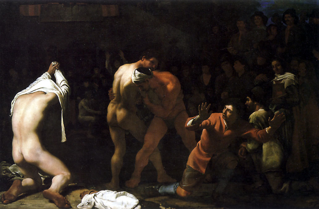 Sweerts, Michael [Flemish Baroque Era Painter, ca.1618-1664]A Wrestling Matchc. 1648-50Oil on canvas86 x 128 cmStaatliche Kunsthalle Karlsruhe
