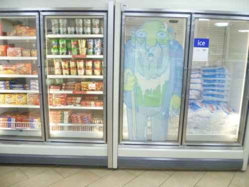 Jasper from The Simpsons Stuck in the Freezer IRL Can I get a price check on the Frostilicus?