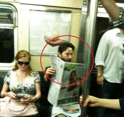 justmakemexscream:  This guy reading the newspaper on the subway is Keanu Reeves.He is from a problematic family. His father was arrested when he was 12 for drug dealing and his mother was a stripper. His family moved to Canada and there he had several step dads.He watched his girlfriend die. They were about to get married, and she died in a car accident. And also before that she had lost her baby. Since then Keanu avoids serious relationships and having kids.He's one of the only Hollywood stars without a Mansion. He said: 'I live in a flat, I have everything that I need at anytime, why choose an empty house?'One of his best friends died by overdose, he was River Phoenix (Joaquin Phoenix's brother). Almost in the same year Keanu's father was arrested again.His younger sister had leukemia. Today she is cured, and he donated 70% of his gains from the movie Matrix to Hospitals that treat leukemia.In one of his birthdays, he got to a little candy shop and bought him a cake, and started eating alone. If a fan walked by he would talk to them and offer some of the cake.He doesn't have bodyguards, and he doesn't wear fancy clothes.When they asked him about 'Sad Keanu', he replied: 'You need to be happy to live, I don't.'""
