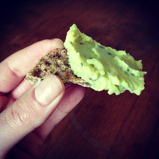 #avocado with chickpeas, flaxseeds #himalayansalt on #ryebread.