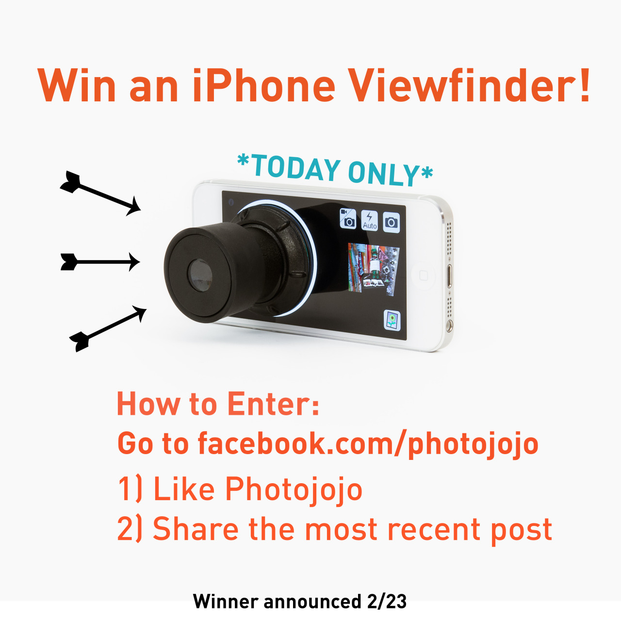 Huzzah, we're giving away an iPhone Viewfinder today! Just head over to our Facebook page and follow the instructions above to enter. We'll announce a lucky winner tomorrow, 2/23.