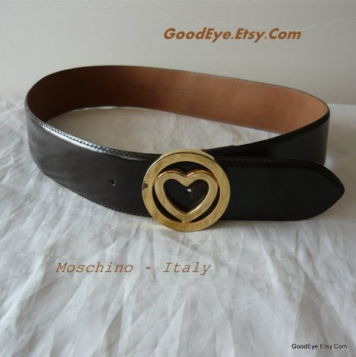 Vintage Moschino Belt..Redwall leather..Chocolate brown @ www.GoodEye.Etsy.Com