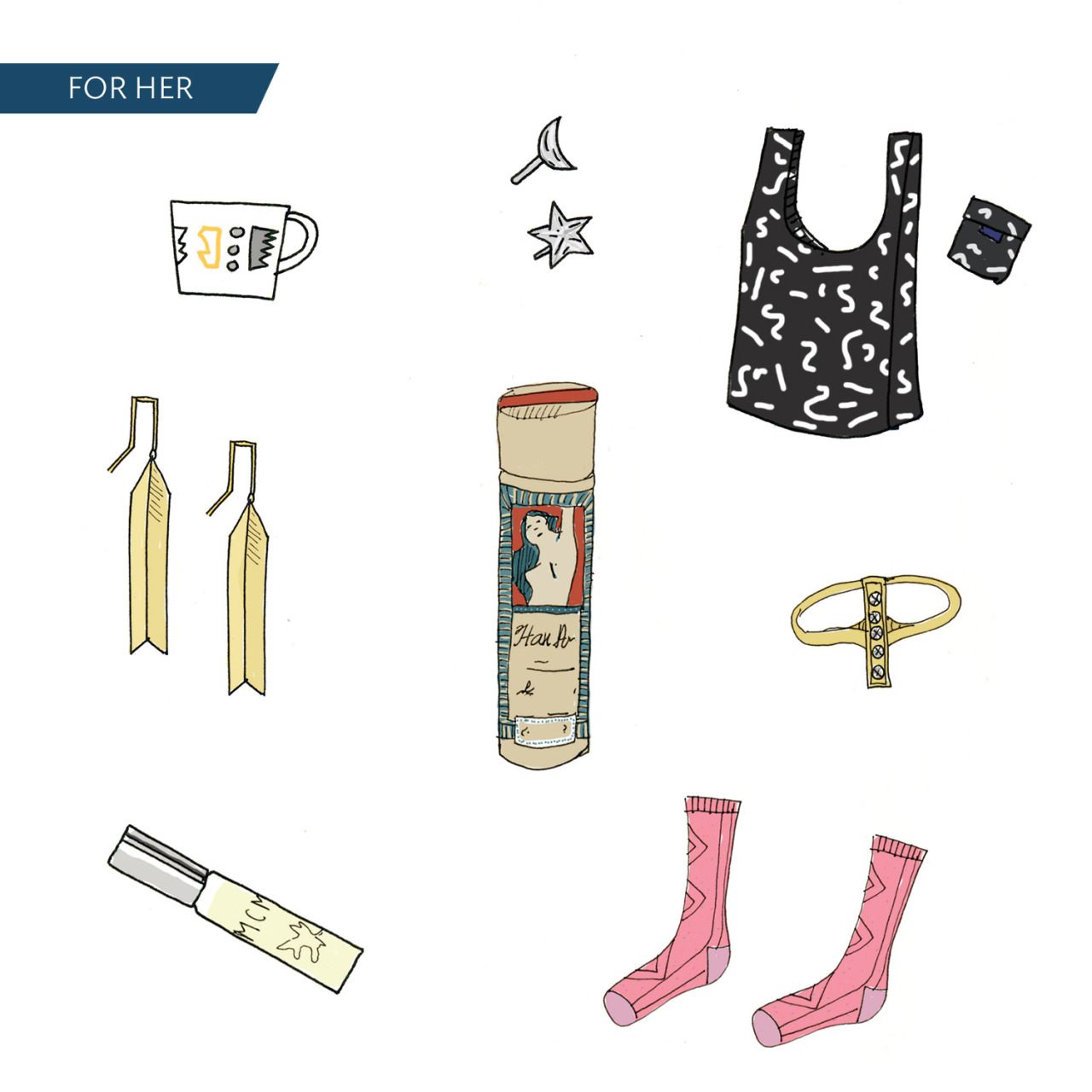 Chau's V-Day picks. 1. Alyson Fox White Noise Mug 2. Odette NY Moon + Star Studs 3. Baggu Black Paint Reusable Bag 3. Satomi Kawakita Diamond Bar Ring 4. Hansel from Basel Cable Crew Socks 5. MCMC Fragrances Garden 5. Fay Andrada Torni Earrings 6. Lulu Organics Hair Powder