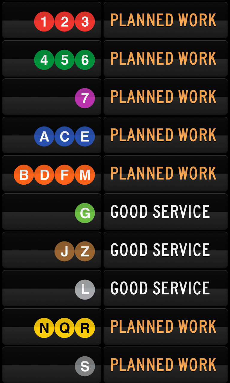 status-board-widgets:  Display the status of NYC subway lines on your Status Board by Lucius Kwok / @ luciuskwok.