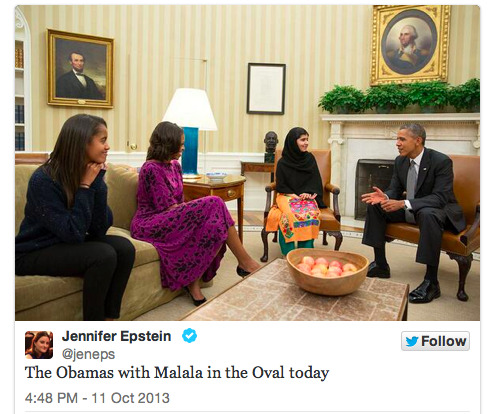 The future right here… Malia Obama & the extra inspiring and awesome 16yr old Malala Yousafzai in the Oval office with President Obama & Michelle Obama. Love it.