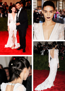 triswoods:  Rooney Mara & Riccardo Tisci —Met Ball 2013  Thank you for somewhat sticking to the theme with your hair and makeup, Mara.