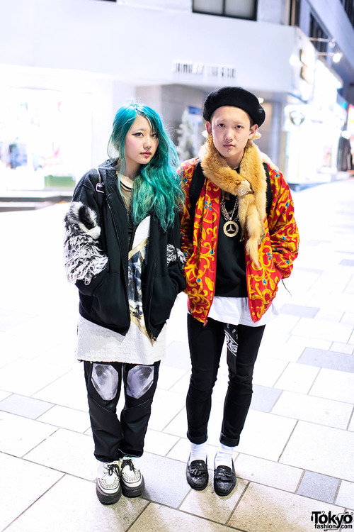 tokyo-fashion:  Harajuku couple with matching labret piercings & nose rings.