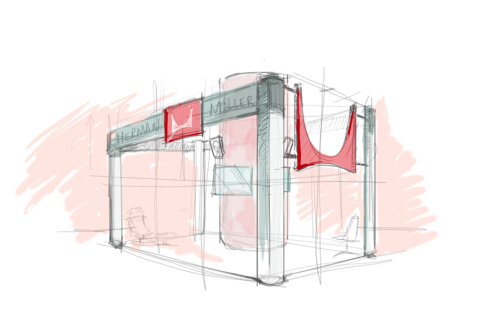 Practicing a bit with my Herman Miller trade show booth concept.  Had to brush the dust off my Bamboo Tablet hiding under the desk. Motivated by the Great Leighton (http://www.coroflot.com/leightonmcdonald) Peep his Tumblr here: http://iamleighton.com/  Rough start, I'm sure the quality will pick up a bit when I move to the Cintiques.