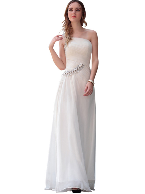 DEBBY IN ASYMMETRIC WHITE JEWELLED WEDDING DRESS  SKU# 30546 Be the first to review this product Availability: In stock£255.00